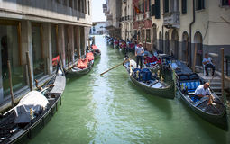 Wenecja tła czarny ikon linie świecąca setu transportu wektoru woda Zdjęcie Royalty Free