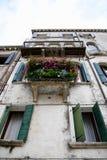 Wenecja Windows z kwiatami obraz royalty free