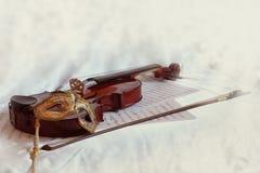 Wenecka maska i skrzypce Zdjęcia Stock