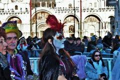 Wenecki krajobraz, San Marco podczas karnawałowej Niedzieli obraz royalty free