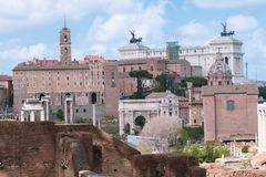 Wenecki kwadrat w Rzym i Kapitolińskich muzeach zdjęcie stock