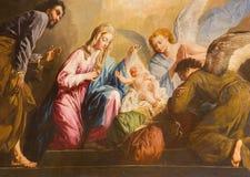 Wenen - de Geboorte van Christusverf in pastorie van Salesianerkirche-kerk door Giovanni Antonio Pellegrini (1725-1727) Stock Foto