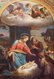 Wenen - Fresko van Geboorte van Christusscène door Karl von Blaas van. cent 19. in schip van Altlerchenfelder-kerk Stock Foto