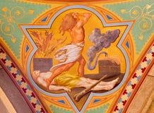Wenen - Fresko van moord van Abel scène in zijschip van Altlerchenfelder-kerk royalty-vrije stock afbeelding