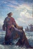 Wenen - Fresko van Verdronken Peter en Jesus in Altlerchenfelder-kerk Stock Afbeeldingen