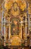 Wenen - het Barokke altaar van kloosterkerk in Klosterneuburg bouwt door Sebastian Stumpfegger en ontworpen door Matthias Steinl v Royalty-vrije Stock Afbeelding