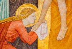 Wenen - moderne fresko van Mary Magdalen stock foto