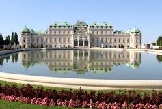 WENEN, OOSTENRIJK - Augustus 28 Meer en Tuin van BELVEDERE Paleis o Royalty-vrije Stock Foto