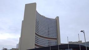WENEN, OOSTENRIJK - DECEMBER, 24 het bureaugebouwen van de Verenigde Naties, de stad van UNOV of UNO Complex VIC Stock Foto's