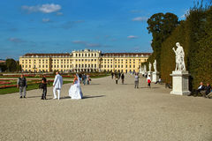 Wenen, Oostenrijk - September 24, 2014: De spruit van de huwelijksfoto van bruid en bruidegom dichtbij Schonbrunn-paleis stock afbeeldingen