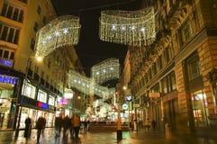 Wenen - straat bij nacht Stock Foto's