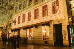 Wenen - straat bij nacht Royalty-vrije Stock Foto