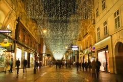 Wenen - straat bij nacht Stock Afbeeldingen