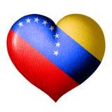 Wenezuela flagi serce pojedynczy białe tło obrazy stock