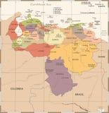 Wenezuela mapa - rocznik Szczegółowa Wektorowa ilustracja Obrazy Royalty Free