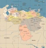 Wenezuela mapa - rocznik Szczegółowa Wektorowa ilustracja Zdjęcia Stock