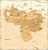 Wenezuela mapa - rocznik Szczegółowa Wektorowa ilustracja Obraz Royalty Free