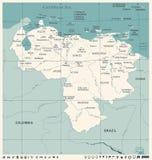 Wenezuela mapa - rocznik Szczegółowa Wektorowa ilustracja Fotografia Royalty Free