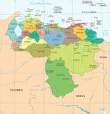 Wenezuela mapa - Szczegółowa Wektorowa ilustracja Obraz Royalty Free