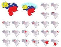 Wenezuela prowincj mapy Zdjęcia Stock