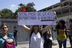 Wenezuela władzy cięcia: Protesty wybuchają w Wenezuela nad zaciemnieniem zdjęcia royalty free