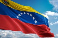 Wenezuela z żakietem ręki flaga państowowa falowania niebieskiego nieba tła realistyczna 3d ilustracja ilustracja wektor