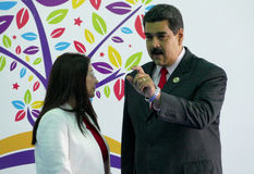 Wenezuelski prezydent Nicolas Maduro Flores i pierwszy damy rzęska Fotografia Stock