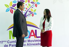 Wenezuelski prezydent Nicolas Maduro Flores i pierwszy damy rzęska Zdjęcia Stock