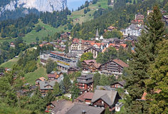 Wengen. Famous village Wengen in swiss alps - starting point for train tours in the Jungfrau region Royalty Free Stock Image