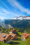 Wengen. Famous village Wengen in swiss alps - starting point for train tours in the Jungfrau region Stock Images