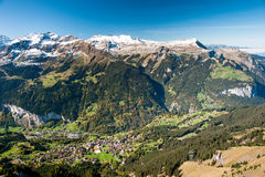 Wengen and Lauterbrunen. View from Maennlichen, Switzerland Royalty Free Stock Image