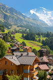 Wengen and mountains Stock Photos