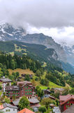 Wengen in the swiss Alps. Wengen  in the swiss Alps, in a valley with rural houses, in the background are mountains with snow on a cloudy day.It´s a vertical Stock Images