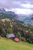 Wengen in the swiss Alps. Wengen  in the swiss Alps, in a valley with rural houses, in the background are mountains with snow on a cloudy day.It´s a vertical Royalty Free Stock Images