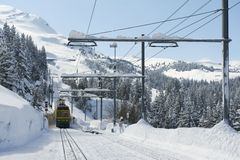 Wengernalpbahn train approach station in Grindelwald, Switzerland. Stock Images