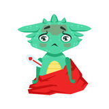 Wenig Anime-Art-Baby-Dragon With Fever Feeling Sick-Zeichentrickfilm-Figur Emoji-Illustration Stockfotos