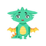 Wenig Anime-Art-Baby-Dragon Upset And Disappointed Cartoon-Charakter Emoji-Illustration Lizenzfreie Stockfotos