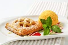 Wenig Aprikosentorte mit Eiscreme lizenzfreies stockbild