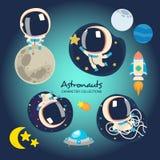 Wenig Astronauten, die im Raum spielen lizenzfreie abbildung