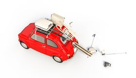 Wenig Auto und Wintermaterial stock abbildung