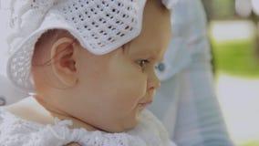 Wenig Baby in den Elternhänden im Park stock video footage