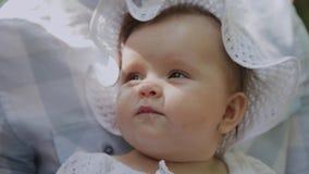 Wenig Baby in den Elternhänden im Park stock video