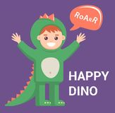 Wenig Baby im Drachekost?m auf purpurrotem Hintergrund netter Junge mit dem Bild eines Dinosauriers vektor abbildung