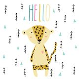 Wenig Babyleopardkunst in der skandinavischen Art lizenzfreie abbildung