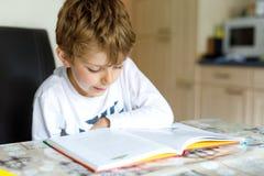 Wenig blonder Schulkinderjunge, der zu Hause ein Buch liest Lizenzfreie Stockbilder