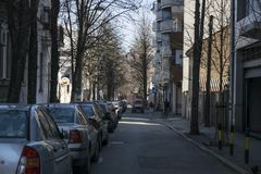 Wenig Durchgangsstraße in der Mitte von Belgrad lizenzfreies stockfoto