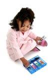 Wenig Geschäftsfrau mit Spielzeug-Geld lizenzfreie stockbilder