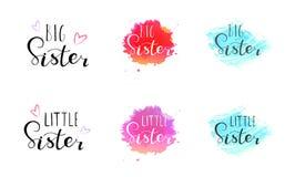 Wenig große Schwester Beschriftung für Babykleidung lizenzfreie abbildung