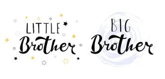 Wenig großer Bruder Beschriftung für Babykleidung stockfoto