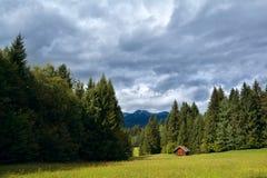 Wenig Hütte auf Wiese im zapfentragenden alpinen Wald Lizenzfreie Stockfotos